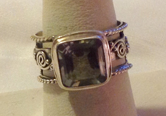Sterling Silver Amethyst/Green Ring and Earrings, size 8