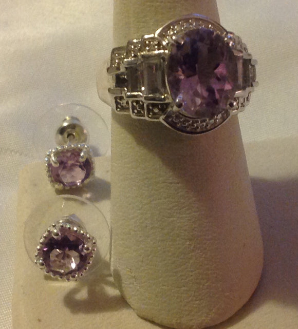 Sterling Silver Amethyst, Rose de France, Ring and Earrings