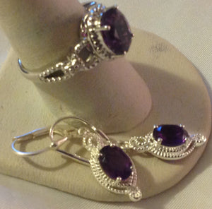 Sterling Silver Lusaka Amethyst 2ct Ring and Earrings