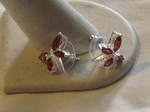 Sterling Silver Earrings:  Mozambique Garnet Dragonfly, stud style