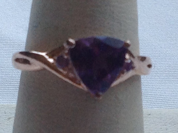 Sterling Silver Amethyst and 14k Rose Gold Over Silver Trillion cut Ring, size  7