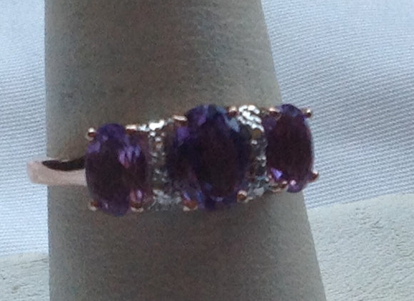 Sterling Silver Amethyst and 14k Rose Gold over Silver Ring, size 7