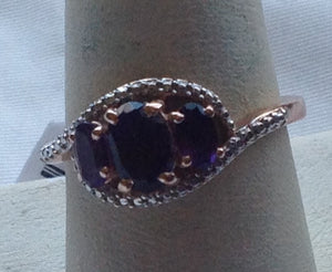 Sterling Silver Amethyst Ring With 14k Rose Gold over Silver, size 9