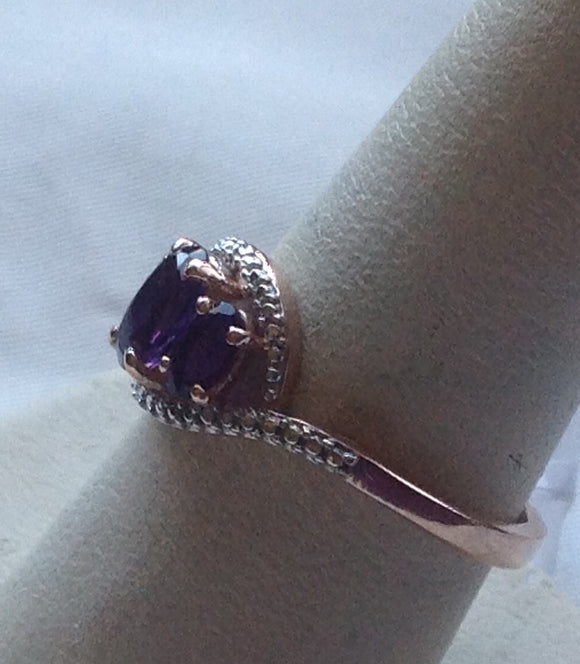 Yes SOLD Sterling Silver Lusaka Amethyst Ring in 14k Rose Gold over Silver, size 9