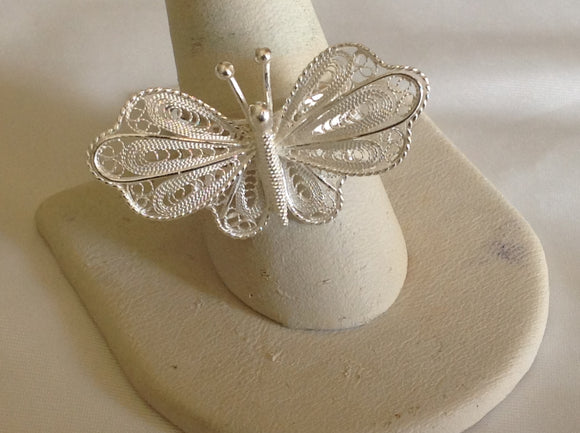 Sterling Silver Lacy Filagree Silver Butterfly Ring, size 7