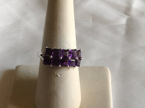 Sterling Silver Lusaka Amethyst Double Row Ring, size 7