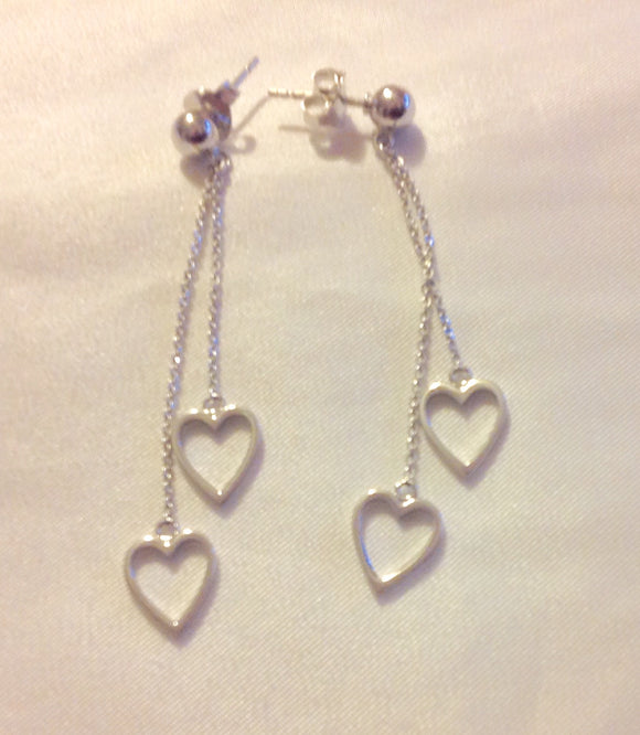Sterling Silver Earrings:  Silver Dangle Hearts, post style