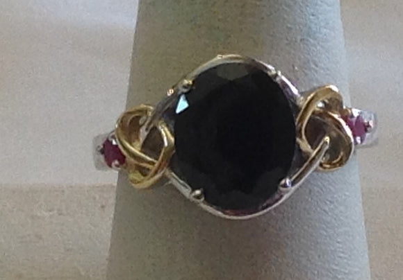 Sterling Silver Thai Black Spinel and Ruby Ring, size 6 and 9