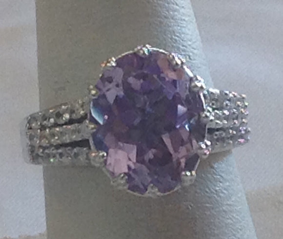Sterling Silver Amethyst, Rose de France, Ring, size 7