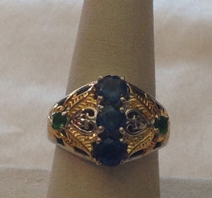 Sterling Silver London Blue Topaz Ring with Yellow Gold accents, size 7
