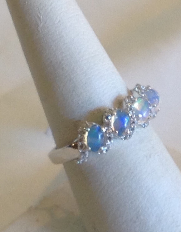 Sterling Silver Ethiopian Welo Opal Ring, size 7