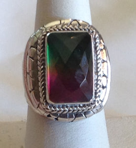 Sterling Silver Watermelon Quartz Artisan Crafted Ring, size 7