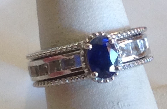 Sterling Silver Masoala Sapphire with White Topaz, size 6