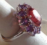 Sterling Silver Salmon Quartz with Garnet and Amethyst Ring and Matching Earrings