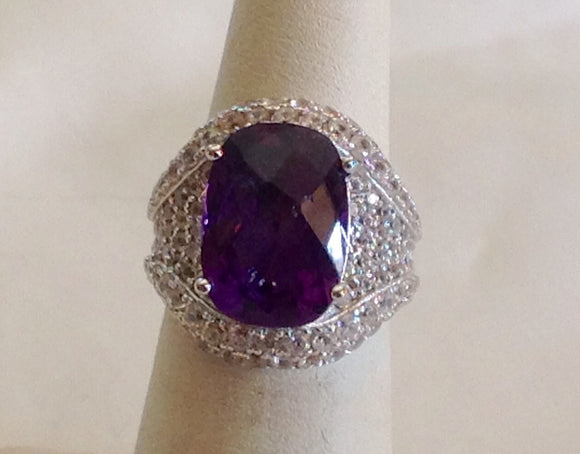 Sterling Silver Amethyst and Zircon Ring, size 5