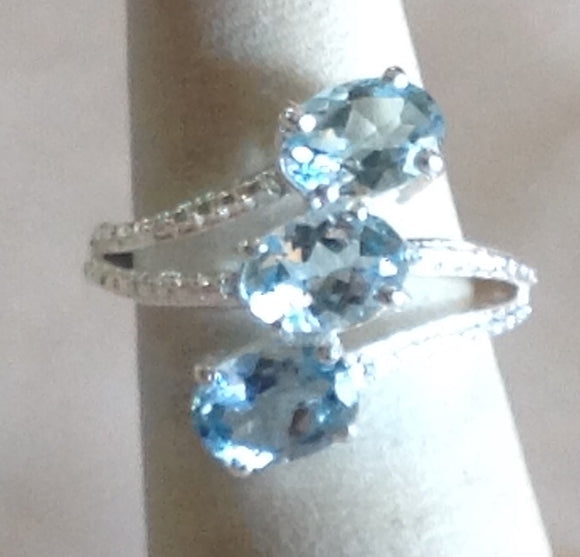Sterling Silver Sky Blue Topaz Ring, size 5