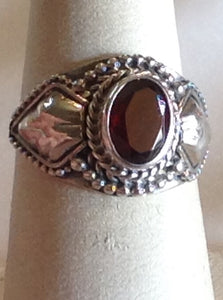 Sterling Silver Mozambique Garnet Ring, Artisan Crafted, size 6