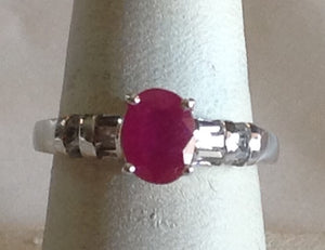 Sterling Silver Niassa Ruby and White Topaz Ring, size 7
