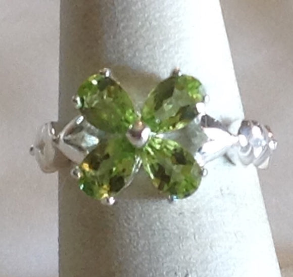 Yes SOLD Sterling Silver Hebei Peridot Ring, size 6