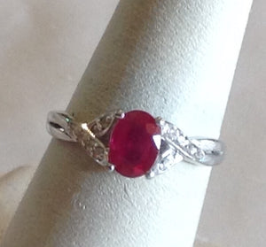 Sterling Silver Niassa  Ruby Ring, size 6.5