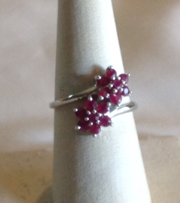 Sterling Silver Burmese Ruby Bypass Ring, size 7