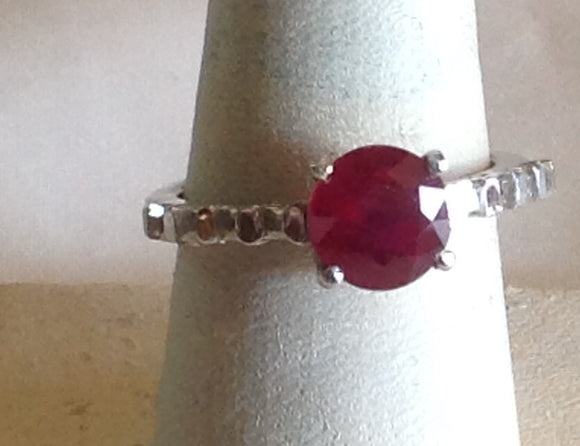 Sterling Silver Niassa Ruby Ring, size 8