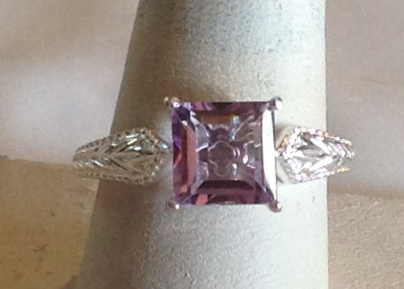 Sterling Silver Amethyst, Rose de France, Ring, size 9
