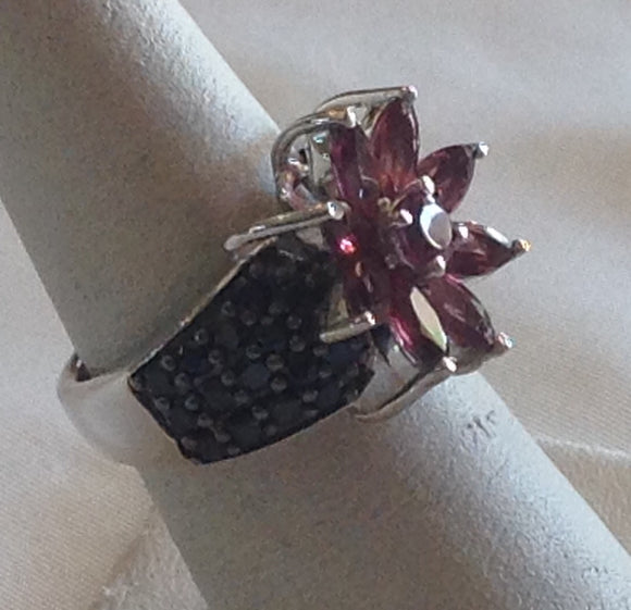 Sterling Silver Orissa Garnet with Black Spinel Ring, size 6