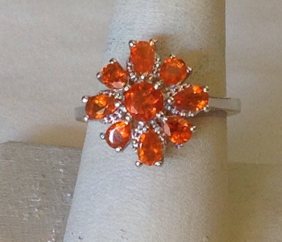 Sterling Silver Salamanca Fire Opal Ring, size 5