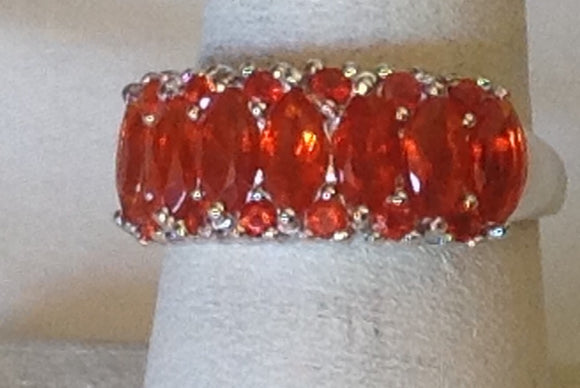 Sterling Silver Crimson Fire Opal Ring, size 7