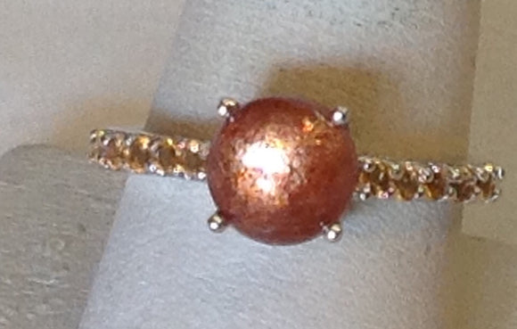 Sterling Silver Sri Lanka Sunstone Ring, size 5