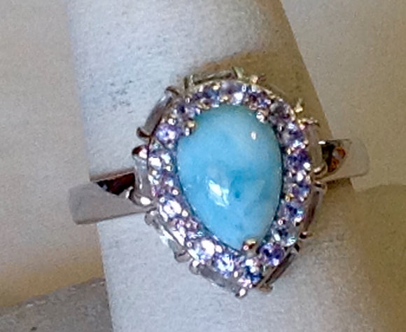 Sterling Silver Larimar and Tanzanite Ring, size 8