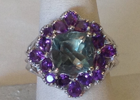 Sterling Silver Belgian Teal Fluorite and Amethyst Ring, size 8