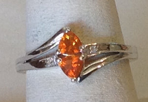 Sterling Silver Crimson Fire Opal Trillion cut Ring, size 7 and 8