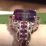 Sterling Silver Bi Color Fluorite Rings, size 6 and 7