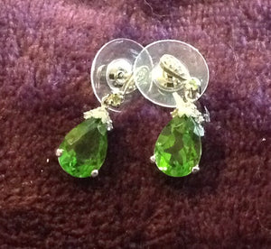 Sterling  Silver Earrings: Chartreuse Quartz, post style