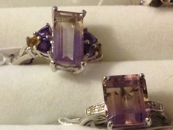 Sterling Silver Ametrine Rings x 2, sizes 6, 7
