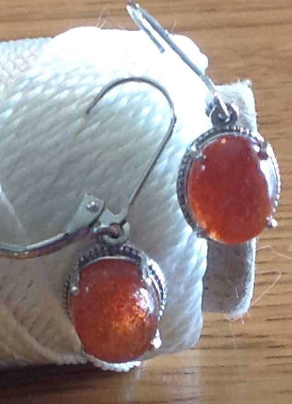 Sterling Silver Earrings:  Sri Lanka Sunstone, leverback style