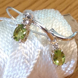 Sterling Silver Earrings:  Peridot, leverback style