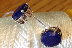 Sterling Silver Earrings:  Lapis Lazuli, post style