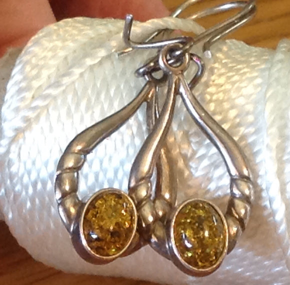 Yes SOLD. Sterling Silver Earrings:  Golden Amber Dangle, hook style