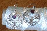 Sterling Silver Earrings:  Amethyst dangle, hook style