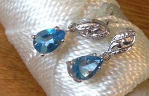 Sterling Silver Earrings:  Capri Blue Quartz, leverback st