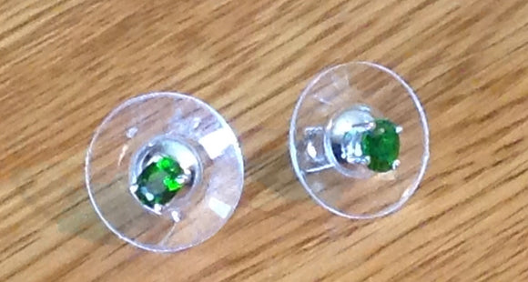 Sterling Silver Earrings:  Russian Diopside, studs