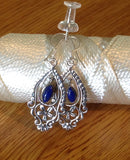 Sterling Silver Earrings:   Lapis Lazuli Dangle, Artisan Crafted, hook style