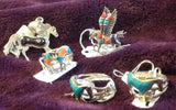 Sterling Silver Sante Fe Kingman Multi Color Turquoise Unicorn/Horse Ring, size 7
