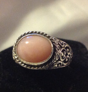 Sterling Silver Peruvian Pink Opal Ring, size 7