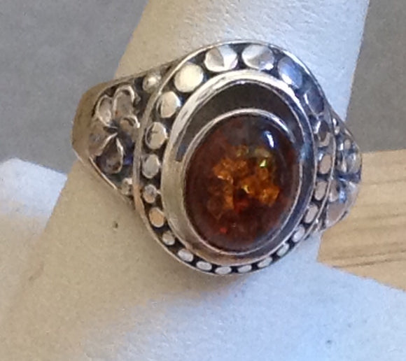 Sterling Silver Baltic Amber Ring, Artisan Crafted  size 8