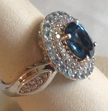 Sterling Silver London Blue Topaz Ring, size 7