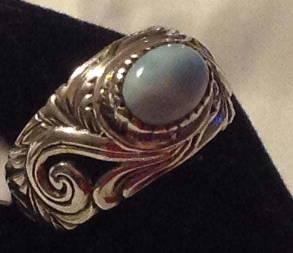 Sterling Silver Larimar Ring, size 6.5, Artisan Crafted